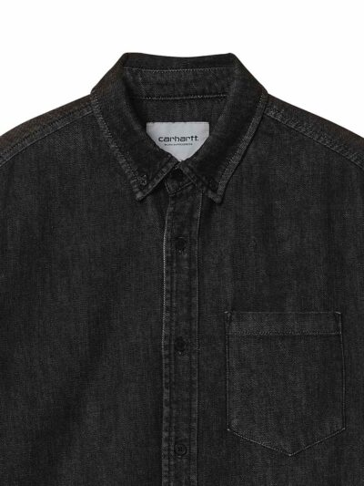 LS CiviL Shirt black garment wash DETAIL