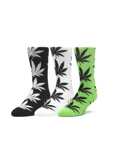 HUF Essentials Plantlife Socks 3 Pack black white hufgreen
